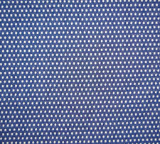 """4 1/2 Yards Vintage 1960's Double Knit Fabric Blue w/ White Polka Dots 58"""" Wide"""
