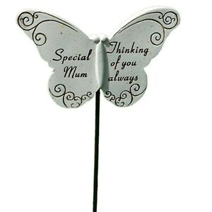 Butterfly Stick Spike Stake Marker Special Mum Memorial Tribute Graveside Plaque