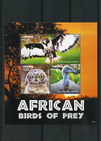 Liberia 2015 MNH African Birds of Prey 3v M/S Buzzard Eagle Owl Cape Vulture