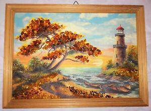 Bernstein-Bild Ostsee mit Landschaft und Leuchtturm, Wandbild,Vintage 90er Jahre
