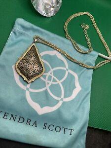 "kendra scott gold & silver two tone long drop necklace 35"" & bag"