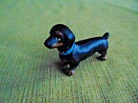 "Cast Iron Paperweight Figure Dachshund Dog Puppy Mini rustic antiqued 2"" hotdog"