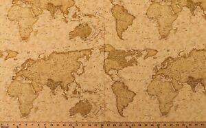 Cotton World Maps Vintage-Look Travel Passport Fabric Print BTY D371.45