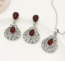 Boho Silver Jewelry Set Turkish Waterdrop Ruby Crystal Earrings+Necklace Party.