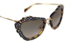 MIU NOIR 04Q 7S0-3D0 MIU Donna Cat Eye occhiali da sole gioiello oro Havana Grigio
