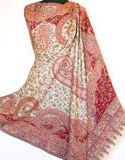 Red Wool Hand-Cut Kani Shawl Paisley Jamaver India Jacquard Jamawar Pashmina