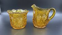 VINTAGE MCKEE KEMPLE YUTEC AMBER EAPG GLASS CREAMER & OPEN SUGAR, c. 1907