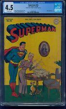 Superman #43 1946 Last Shuster Art! CGC 4.5 OW Super RARE Double Cover Error!