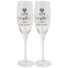 Set Of 2 Love Laughter Diamond Heart Dotted Design Champagne Wine Glass Flutes