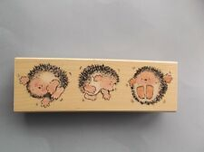 PENNY BLACK RUBBER STAMPS HEDGEHOGS HEAD OVER HEELS NEW wood STAMP