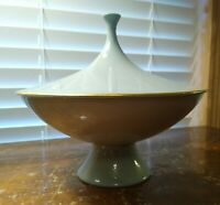 Rare Vintage Mid Century Modern Atomic Lenox Teal Candy Dish Beverly Collection
