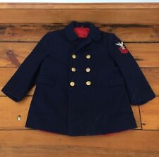 Vtg Fieldston US Navy Style Double Breasted Boys Kids Wool Dress Pea Coat 27""