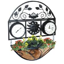 New Traditional Decorative Wall Clock Basket Mounted Garden Thermometer & Plant