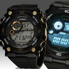 OHSEN Mens Womens 12/24 Hrs Alarm Military Army Digital Sport Watch Quartz Gold