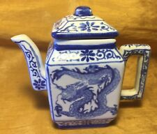 "4.5"" Chinese Blue & White Square TEAPOT w Painted Dragon & Phoenix Bird - Signed"