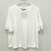 Marc New York Andrew Marc Womens Knit Top Blouse XL Flutter Chiffon Blouse Ivory