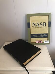 NASB Large Print Ultrathin Reference Bible Black Genuine Leather Concordance