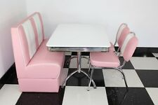American Diner Furniture 50s Retro White Gloss Table Pink Booth and 2 Chairs