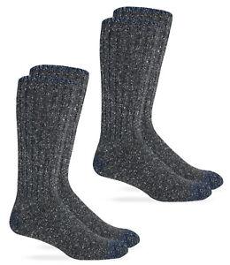 Wise Blend Mens Warm Merino Wool Rib Boot Socks Casual Mid Calf Socks 2 Pair