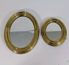 "Lot of 2) 5.5 & 9.5"" Round Oval Gold Mirrors home decor 1980s 1990s"