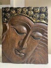 "Vintage Hand Carved Wood Wall Decor Plaque Buddha 10"" X 12"""
