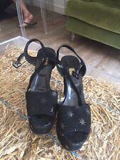 Biba Negro Plataforma Bloque Talón Sandalias De Gamuza Con Estrellas Negra, Talla 6
