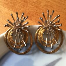 Vintage Crafted Mid Century Starburst Atomic Fireworks Earrings Post Silver/Gold