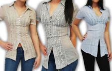 Gestreifte Damenblusen, - tops & -shirts mit Rüschen in Größe M