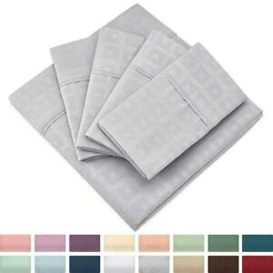 Cosy House Collection Elegant Pattern Embossed Bed Sheet Set Ultra Soft Bedding