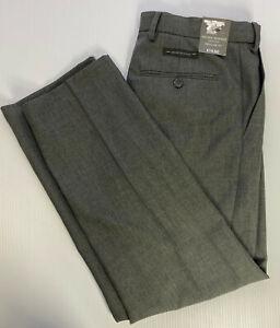 M&S Regular Fit Dress Trousers Active Waist Single Pleat GREY W32 L31 R RRP£19.5