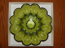 Anchor Hocking Green Glass Fairfield Egg Plate Vintage Home Decorating
