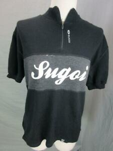 SUGOI SIZE S MENS BLACK 100% MERINO WOOL SHORT SLEEVE CYCLING PULLOVER T396