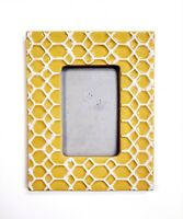 """Vintage Ceramic Honeycomb Design Photo Frame Holds 4x6"""" Picture Large Yellow"""