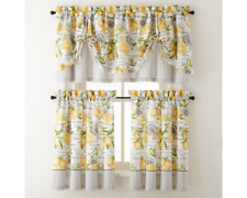 Home Expressions Lemon Zest French Country Cafe Curtain and Tie Valance