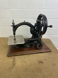 Antique Willcox and Gibbs Hand Cranked American Sewing Machine - on Wooden Base