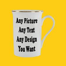 Custom Personalised 10oz Gold Rim Bone China Mug - Printed with your Own Design!