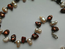 Copper/Peach Freshwater Pearl Necklace, 17.5 in long.