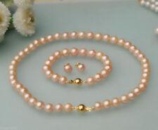Women's 7-8mm Natura Pink Freshwater Pearl Necklace Bracelet Earrings Set AAA