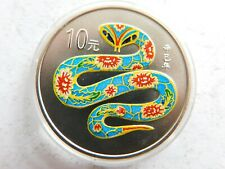 China 10 Yuan 2001 Schlange 1oz Farb Silbermünze 👌ST