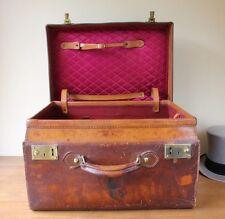 Antique Leather Top Hat Box Case. Large Size 2 Hat Travel Trunk. Ascot Races.