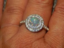 ETHIOPIAN WELO OPAL & NATURAL CAMBODIAN ZIRCON HALO RING-SIZE P-1.750CTS