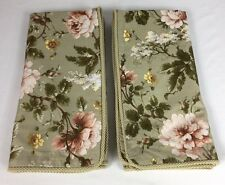 PAIR Ralph Lauren YORKSHIRE ROSE Sage Green Floral Euro Pillow Shams