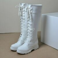 Women's Knee High Boots Motorcycle Punk Lace Up Riding Boots Shoes Plus Size