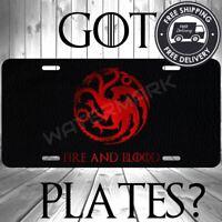 GOT House Targaryen Aluminum License Plate Metal Tag Car Truck Game Of Thrones G