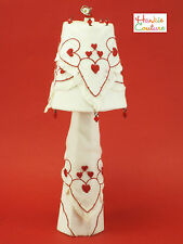 OOAK EMBROIDERED HEART LAMP BARBIE DOLL SIZE FURNITURE HANKIE COUTURE HANDMADE