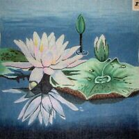 MZC Oriental Lilly Pads & Flowers HP Hand Painted Needlepoint Canvas