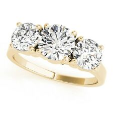 1.10Ct Real Diamond Solitaire Three Stone Engagement Ring Solid 18K Yellow Gold