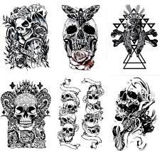 (Set of 6) Skull Tattoo & Skeleton Temporary Tattoos Unisex Body Art Halloween
