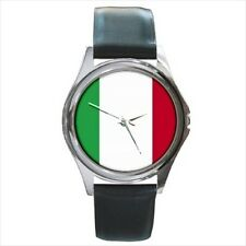 Italy Italian Flag Unisex Wrist Watch Round Metal Face Leather Band