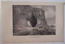 § gravure sur bois dessin Sorrieu : ile de Staffa, grotte Fingal 1879 Ecosse